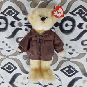 Baron Ty Attic Treasures Bear Brown Leather Jacket